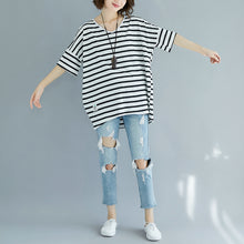 Load image into Gallery viewer, Fine black pure cotton tops plus size clothing blouses Elegant striped v neck cotton clothing tops