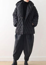 Laden Sie das Bild in den Gallery Viewer, Fine Black Shortgoose Down Coat Oversize Kapuze Damen Parka Krawatte TailleWarm Jacken