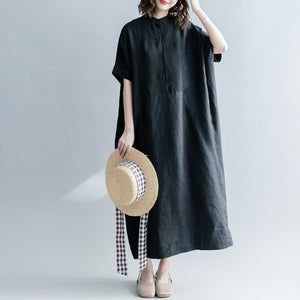 Fine black silk linen dresses oversize Stand baggy dresses caftans casual short sleeve patchwork gown