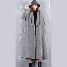 Load image into Gallery viewer, Fine black striped Coats casual turn-down Collar outwear top quality pockets long coats