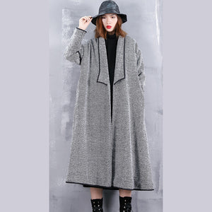 Fine black striped Coats casual turn-down Collar outwear top quality pockets long coats