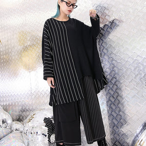 Fine black striped blouse oversized O neck casual asymmetrical design tops