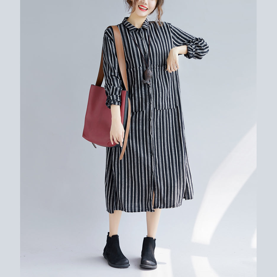 Fine black striped natural cotton linen shirt dress plus size Turn-down  Collar side open Fine long sleeve pockets maxi shirt dresses