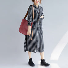 Load image into Gallery viewer, Fine black striped natural cotton linen shirt dress plus size Turn-down Collar side open Fine long sleeve pockets maxi shirt dresses