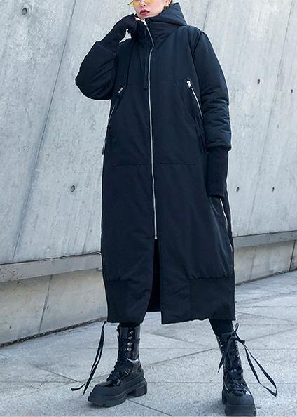 Fine black winter parkas oversize hooded zippered winter coats