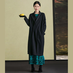 Fine black wool coat for woman plus size clothing embroidery Winter coat long sleeve woolen outwear