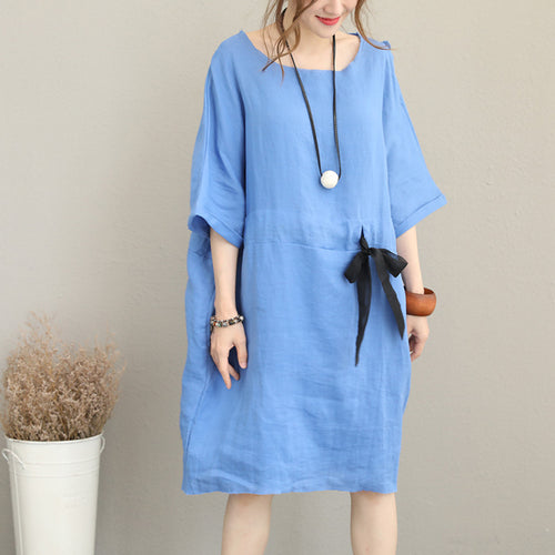 487bafe680d Fine blue Midi-length linen dress oversize linen clothing dress top quality  waist drawstring bracelet