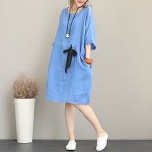 Load image into Gallery viewer, Fine blue Midi-length linen dress oversize linen clothing dress top quality waist drawstring bracelet sleeved knee dresses