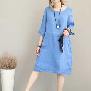 Fine blue Midi-length linen dress oversize linen clothing dress top quality waist drawstring bracelet sleeved knee dresses