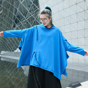 Fine blue Midi pullover casual stand collar tops casual Batwing Sleeve asymmetrical design clothing tops
