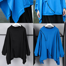 Load image into Gallery viewer, Fine blue Midi pullover casual stand collar tops casual Batwing Sleeve asymmetrical design clothing tops