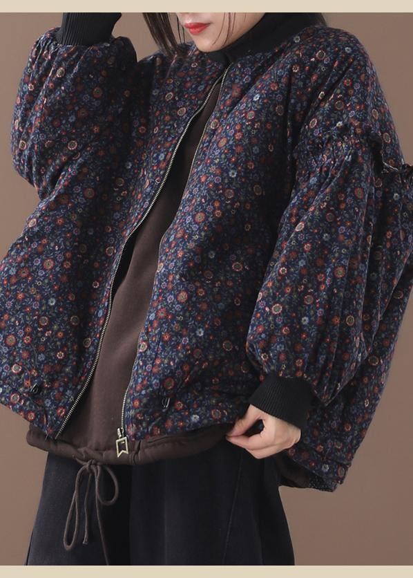 Fine blue floral coats for women Loose fitting winter jacket zippered outwear patchwork o neck