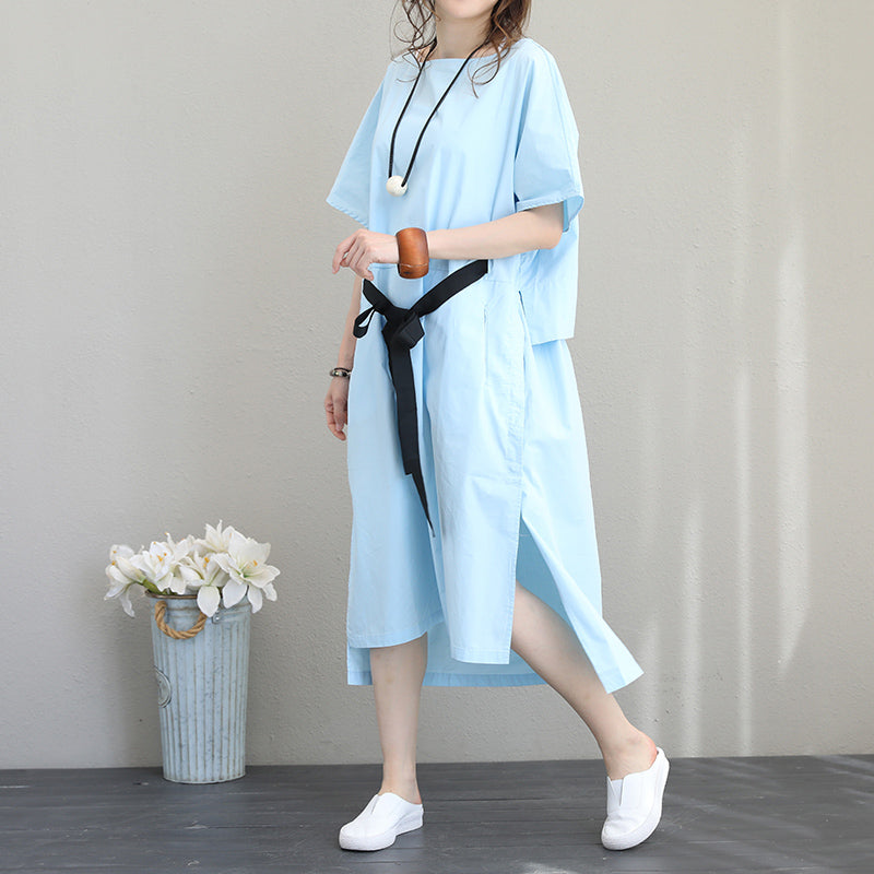 Fine blue linen dress plus size clothing linen clothing dress boutique side  open tie waist linen cotton dress
