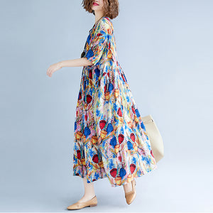 Fine blue linen dresses Loose fitting short sleeve print cotton maxi dress Fine O neck caftans