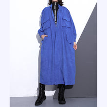 Load image into Gallery viewer, Fine blue long coat plus size Stand zippered trench coat boutique long sleeve pockets baggy long coats