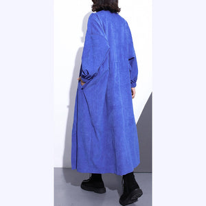 Fine blue long coat plus size Stand zippered trench coat boutique long sleeve pockets baggy long coats