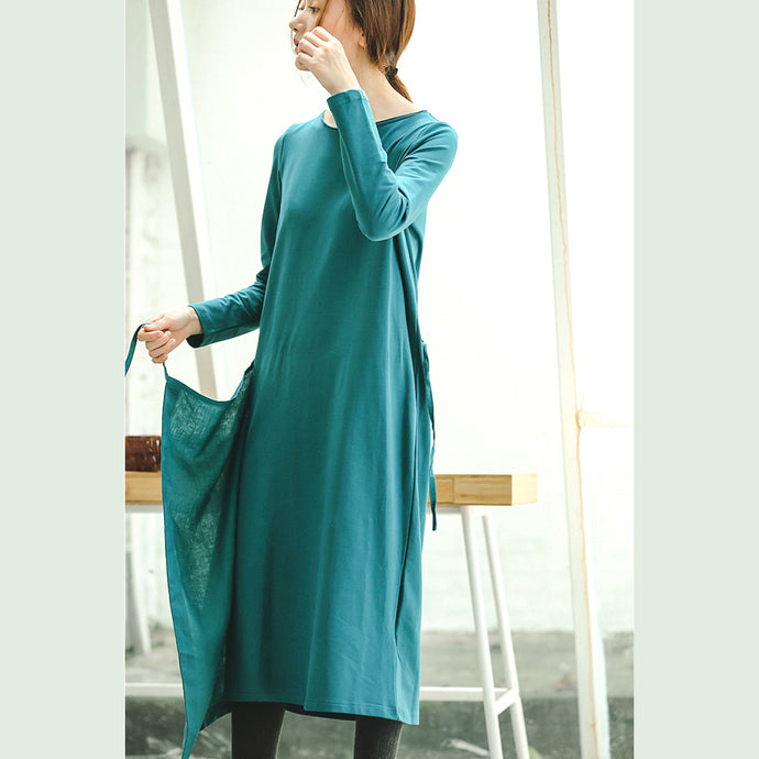Fine blue plus size clothing dresses tie waist asymmetrical design Fine O neck midi dress