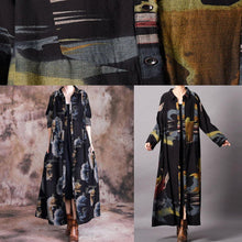 Load image into Gallery viewer, Fine blue print plus size clothing long fall lapel Button Down coat
