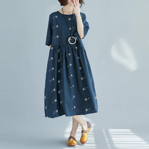 Fine blue print pure cotton linen dress oversized New half sleeve large hem O neck baggy dresses