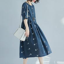 Load image into Gallery viewer, Fine blue print pure cotton linen dress oversized New half sleeve large hem O neck baggy dresses