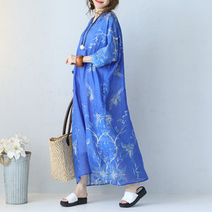 Fine blue prints long linen dress trendy plus size v neck gown Fine bracelet sleeved kaftans