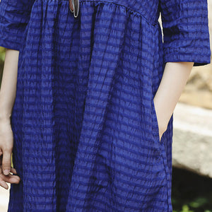 Fine blue silk linen dress plus size O neck baggy dresses New Half sleeve large hem silk linen dresses