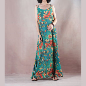 Fine blue summer maxi dress o neck Spaghetti Strap cocktail dress a line skirts floral maxi dresses