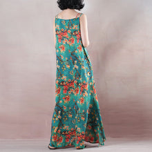 Load image into Gallery viewer, Fine blue summer maxi dress o neck Spaghetti Strap cocktail dress a line skirts floral maxi dresses
