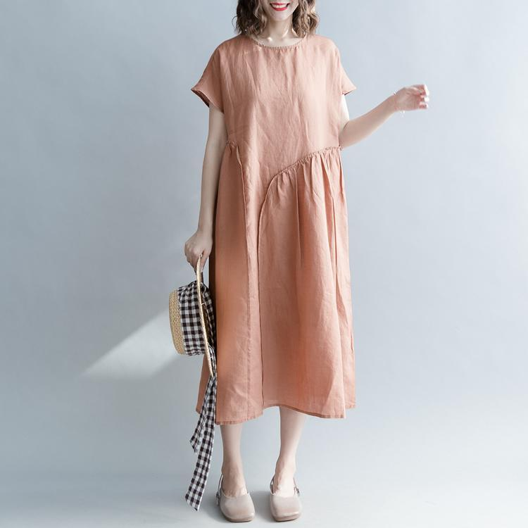 3f63be7a8f ... Fine brown long linen dresses plus size clothing o neck patchwork gown  Elegant short sleeve baggy ...