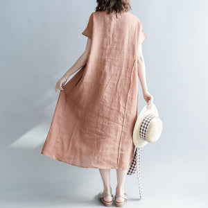 Fine brown long linen dresses plus size clothing o neck patchwork gown Elegant short sleeve baggy dresses