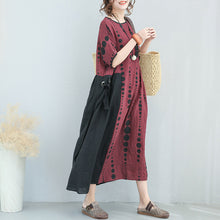 Load image into Gallery viewer, Fine burgundy linen caftans plus size dotted linen clothing dress 2018 patchwork linen caftans