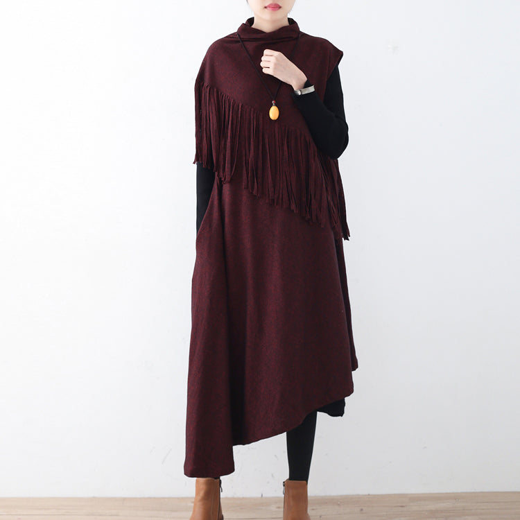 Fine burgundy long woolen trendy plus size tassel fall dresses Elegant asymmetric hem winter dress