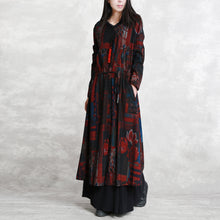 Load image into Gallery viewer, Fine burgundy print coats oversized o neck tie waist outwear Elegant long sleeve pockets coats dresses