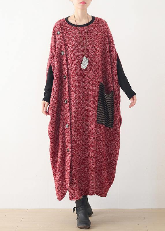 Fine casual long winter dress red o neck asymmetric woolen dress