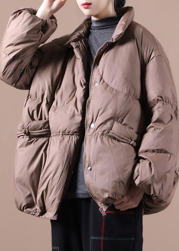 Fine chocolate goose Down coat plus size down jacket stand collar Chinese Button women overcoat