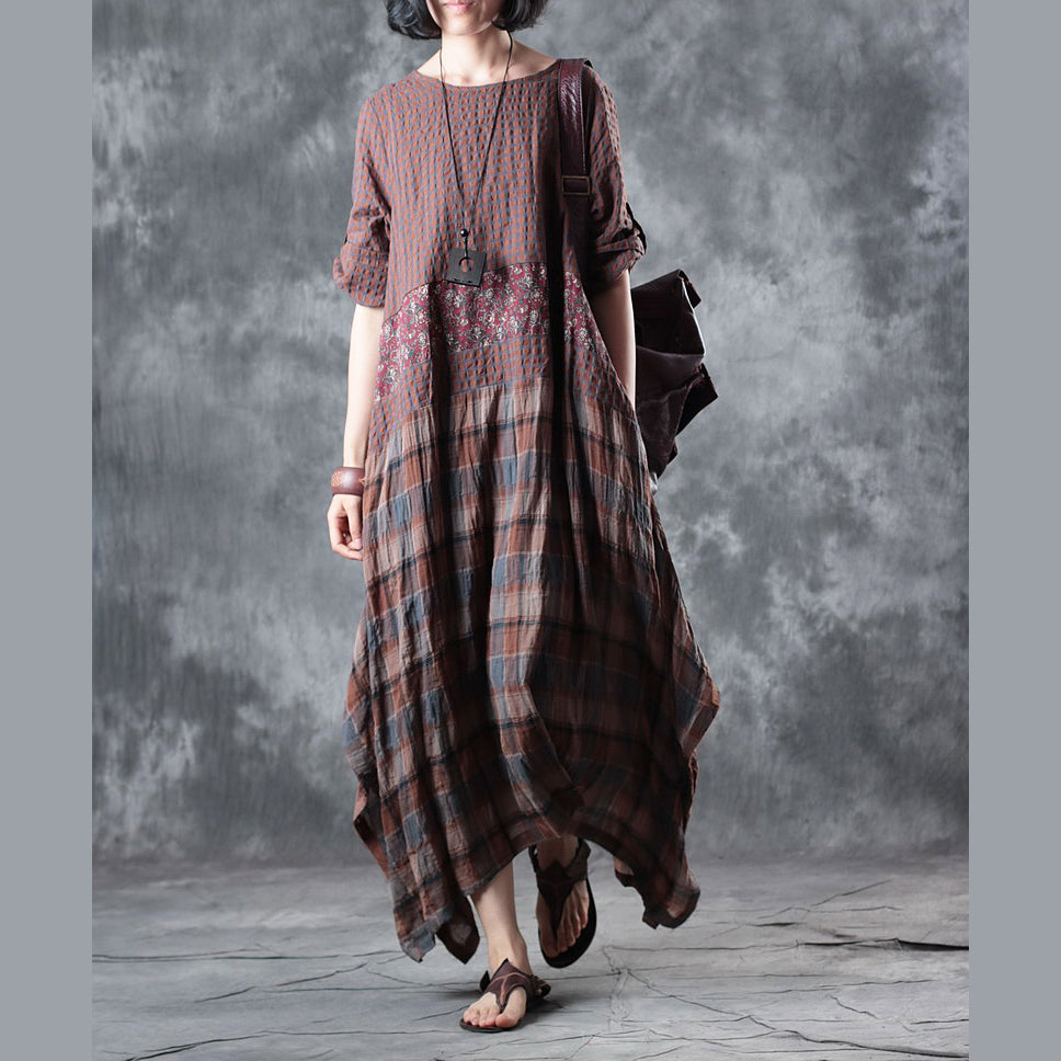 Fine chocolate linen maxi dress oversize o neck plaid grid patchwork linen gown 2018 half sleeve pockets caftans
