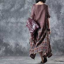 Load image into Gallery viewer, Fine chocolate linen maxi dress oversize o neck plaid grid patchwork linen gown 2018 half sleeve pockets caftans