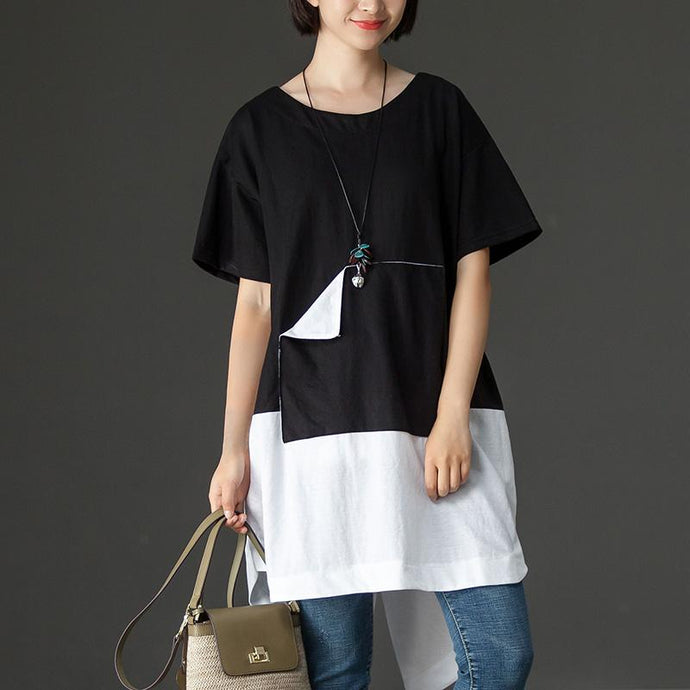 Fine cotton blended tops oversized Black Casual Summer High-low Hem Short Sleeve Women Shirts