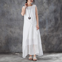 Load image into Gallery viewer, Fine cotton summer dress stylish Round Neck Sleeveless Summer White Long Dress