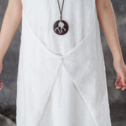 Fine cotton summer dress stylish Round Neck Sleeveless Summer White Long Dress