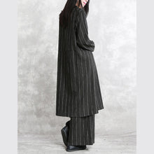 Load image into Gallery viewer, Fine dark gray striped linen blouse plus size linen two pieces Fine long sleeve pockets patchwork cotton tops and vintage baggy pants