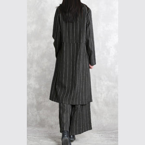 Fine dark gray striped linen blouse plus size linen two pieces Fine long sleeve pockets patchwork cotton tops and vintage baggy pants