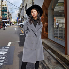 Load image into Gallery viewer, Fine gray Wool Coat plus size Notched outwear boutique double breasted pockets long coats