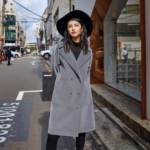 Fine gray Wool Coat plus size Notched outwear boutique double breasted pockets long coats