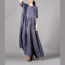 Load image into Gallery viewer, Fine gray embroidery long linen dresses plus size O neck gown 2018 wrinkled linen caftans