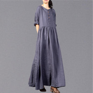 Fine gray embroidery long linen dresses plus size O neck gown 2018 wrinkled linen caftans