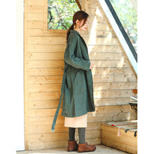 Load image into Gallery viewer, Fine green Coat Loose fitting Notched pockets Fine long sleeve tie waist coat