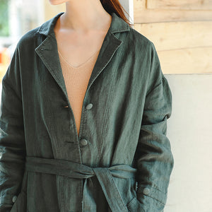 Fine green Coat Loose fitting Notched pockets Fine long sleeve tie waist coat