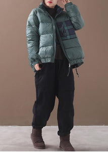 Fine green goose Down coat Loose fitting winter jacket patchwork plaid side zippered Jackets