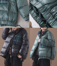 Load image into Gallery viewer, Fine green goose Down coat Loose fitting winter jacket patchwork plaid side zippered Jackets